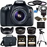 Canon EOS Rebel T6 DSLR Camera with 18-55mm Lens + Sony 16GB SDHC Card + Sony 32GB SDHC Card + 58mm Wide Angle Lens + Card Reader + Canon EOS Shoulder Bag 100ES + Tripod + Flash + Lens Hood Bundle