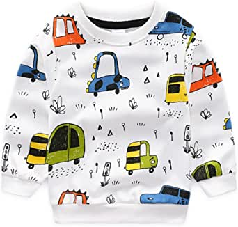 Nwada Toddler Boy Car Print Sweatshirts Boys Sports Clothes Kids Organic Cotton Crewneck Outfits White 5T