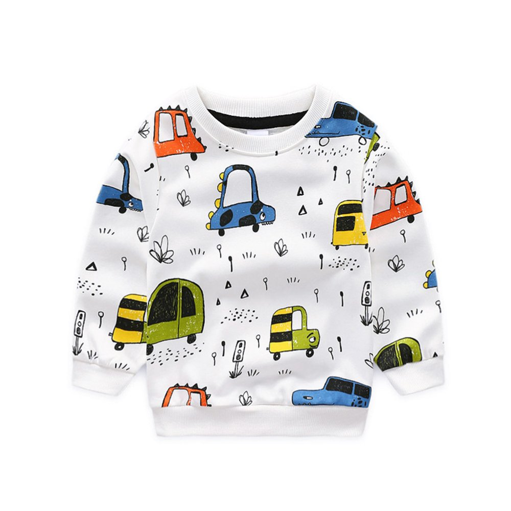 NWAD Boys Car Sweatshirts Light Weight Little Boy Clothes Organic Cotton Crewneck Clothing Long Sleeve Tops (Car White, M(5))