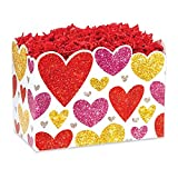 Large Glittering Hearts Basket Boxes - 10 1/4 x 6 x 7 1/2in. - 24 Pack