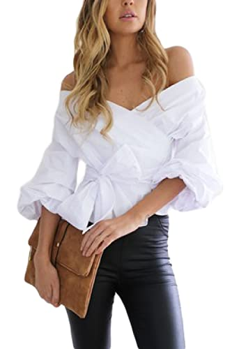 Suvotimo Las Mujeres Verano Hot Off Shoulder Cut Out Low Cut Wrap Party Shirt Blusas Tops Tee