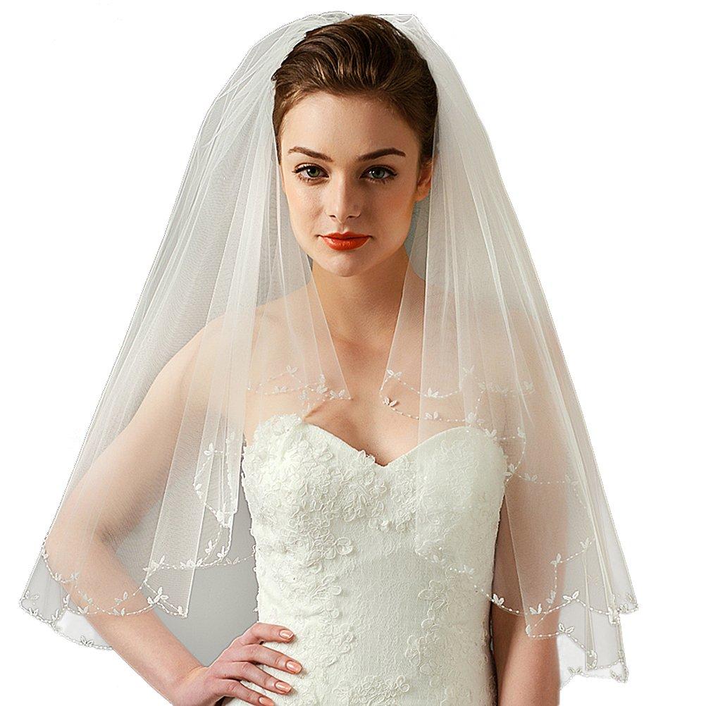 Beige Ellbogen Lange mit Kamm 2 Schicht DreamyDesign Damen Elegante Braut-Schleier Hochzeit Schleier fur die Braut mit Stickerei