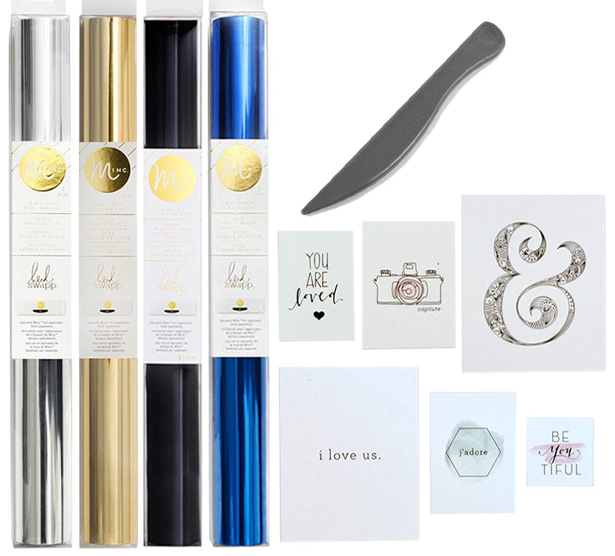 Heidi Swapp Minc Foil Accessories Bundle (6) with Silver, Blue, Black, Gold Foil, Wall Prints, and Scoring Tool by Heidi Swapp & WRMK