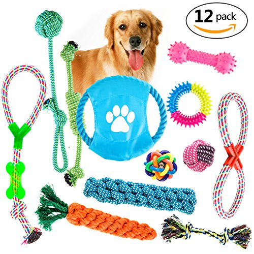 Dog Rope Toys Gift Set 12 Pack Puppy Dog Chew Toys Variety Pet Dog Toys Set Dog Teething Toys Squeak Toy Value Pack for Small and Medium Dogs (Pack Durable)