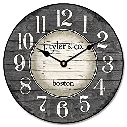 The Big Clock Store Boston Harbor Gray Wall Clock, Available in 8 sizes, Most Sizes Ship 2-3 days, Whisper Quiet.