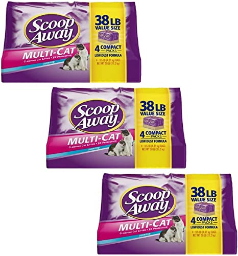 Scoop Away Multi-Cat, Scented Cat Litter, 38 Pounds (pack of 3)