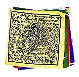 Mandala Crafts Cotton Long Green Tara Tibetan Prayer Flags, 25 Flags Per Strand (8 X 8 Inches Per Flag (18 Feet))