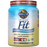 Garden of Life Raw Organic Fit Vegan Protein Powder - Coffee, 28g Plant Based Protein for Weight Loss Plus Fiber, Probiotics
