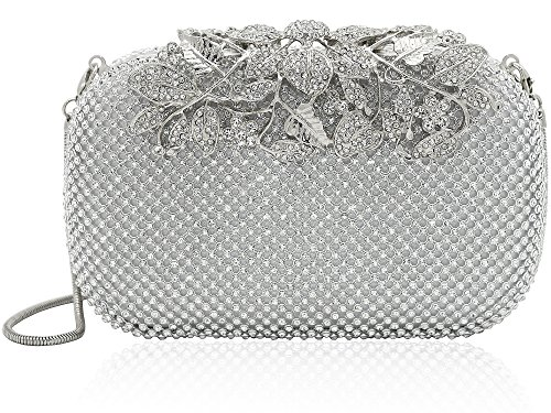 Clutch Women's Handbag Lady Party Crystal Evening Bags Silver - 5