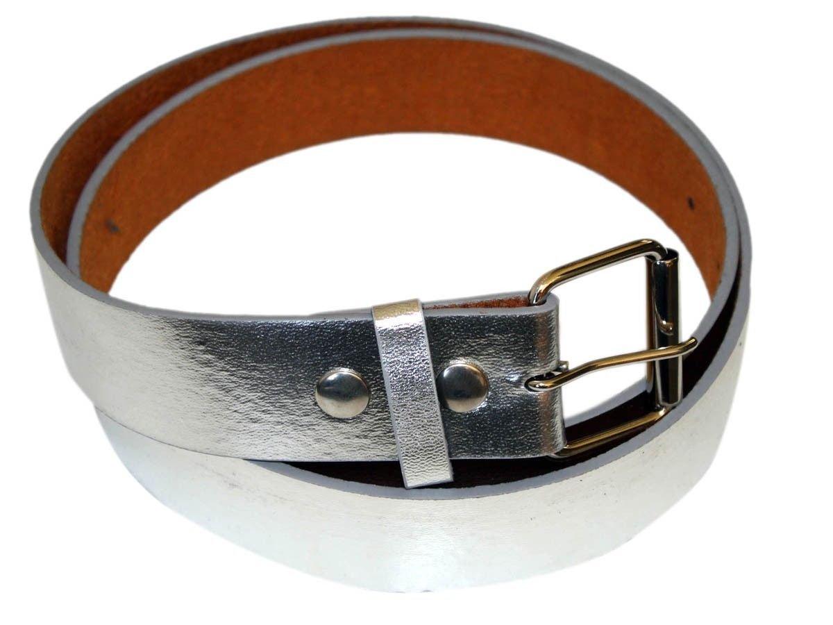 Men's Fashion and Dress PU Belt 1.5 '' Wide silver-L