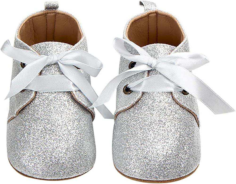 Newborn Toddler Baby Girls Sweet Bow Lace-up Flat Sole Glitter Shoes Prewalker Silver 13cm