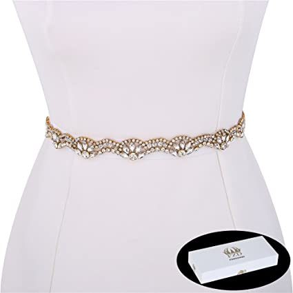 1 Yard Iron on Gold Wedding Dress Rhinestone Applique Diamante Belt Crystal  Bridal Belt Shiny Sparkly Long Thin Flower Clear Glass Beads Slim   Amazon.co.uk  ... 1a203f87b200