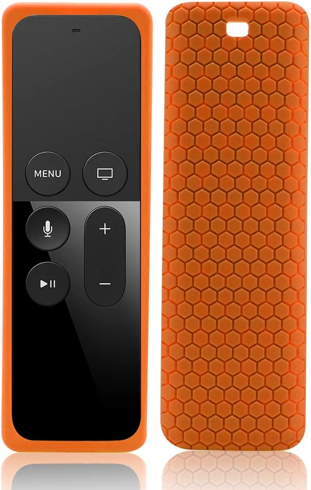 Silicone Protective Case Cover for Apple TV 4K (32GB, Latest Model),Remote Skin Sleeve Protector Holder for Apple TV 4K 5th / 4th Gen Siri Remote Control,Slim Shockproof Anti-Lost Cover Case-Orange