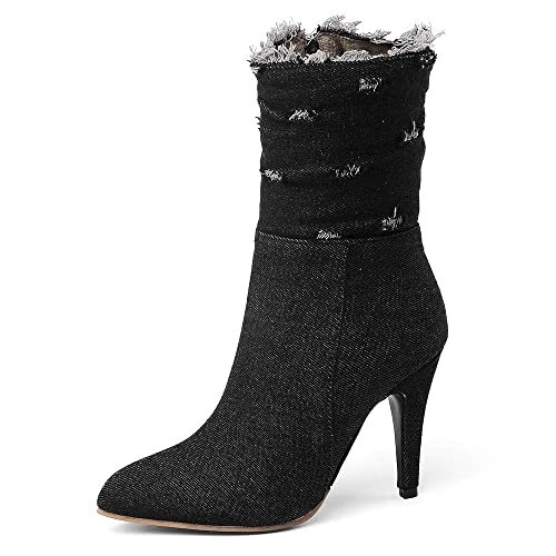 3ad5d8b65 SNIDEL Ankle Boots for Women High Heels Denim Pump Shoes Mid Calf Side Zip  Botas Fall Winter Boots