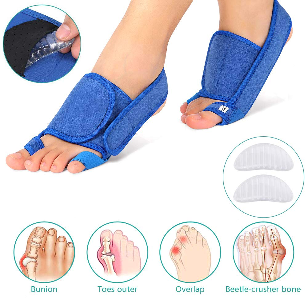 Bunion Corrector Splint Adjustable Three-Dimensional Pressure Hallux Valgus Orthosis Big Toe Straightener Unisex Neight and Day Time Bunion Pain Relief Toe Correction Strap,Blue by PXQ