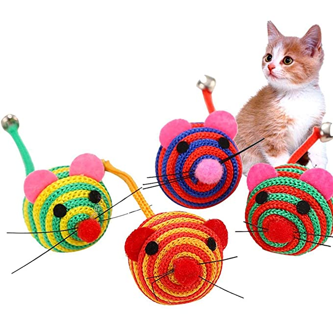 Amazon.com : Best Quality Cute Cartoon Mouse Shaped Interactive chew Ball Toy with Bell Random Color : Pet Supplies