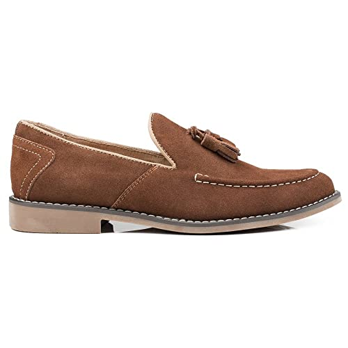 Front - Mocasines de Ante para Hombre marrón marrón, Color marrón, Talla 41.5: Amazon.es: Zapatos y complementos