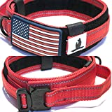 """DOG COLLAR WITH CONTROL HANDLE MILITARY STYLE METAL QUICK RELEASE TACTICAL BUCKLE HEAVY DUTY 2"""" WIDTH NYLON WITH USA FLAG GREAT FOR HANDLING AND TRAINING LARGE CANINE MALE OR FEMALE K9 (Red)"""