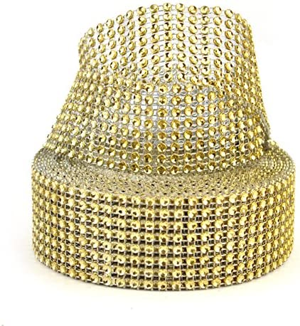 Aspire Gold Diamond Rhinestone Ribbon Wrap Roll, Cake And Party Decoration 8 Rows 1.5″ X 10 Yards – The Super Cheap