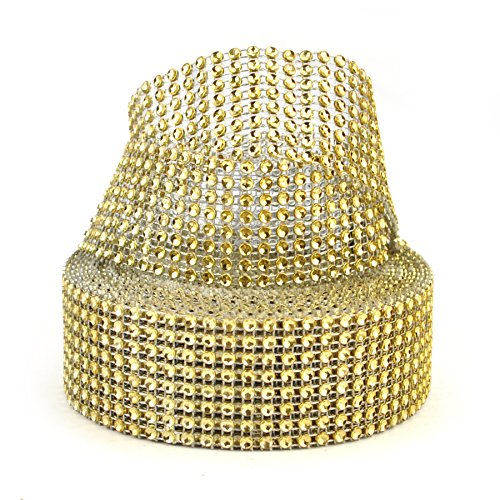(Aspire Gold Diamond Rhinestone Ribbon Wrap Roll, Cake And Party Decoration 8 Rows 1.5