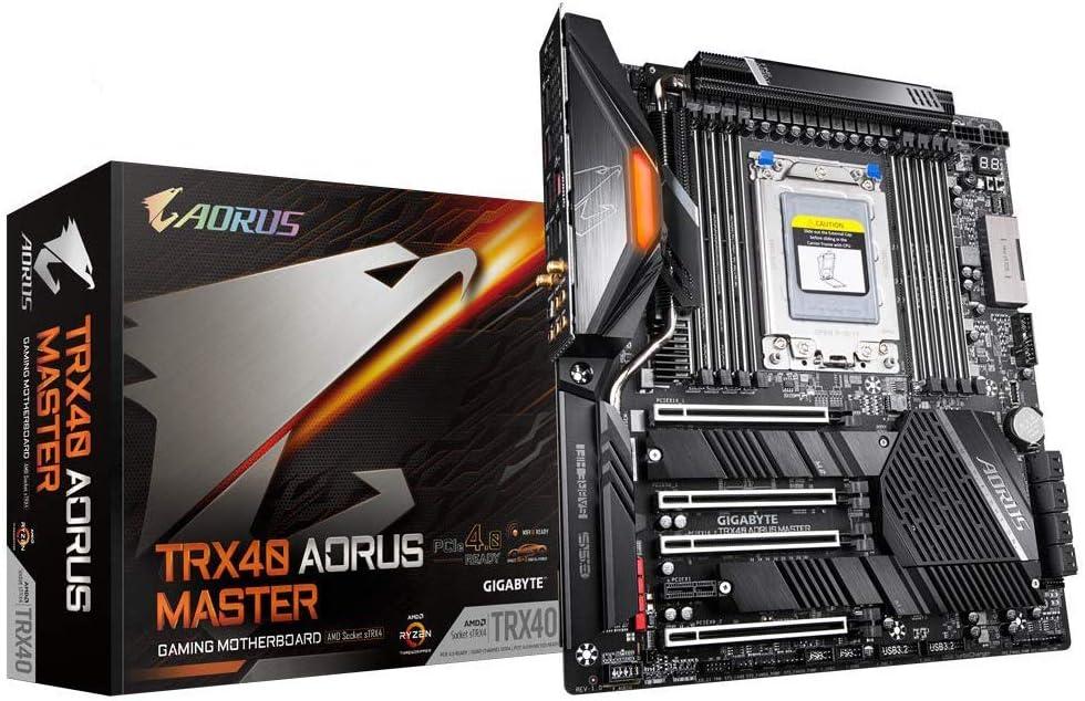 GIGABYTE TRX40 AORUS Master (sTRX AMD TRX40/Fins-Array Heatsink/16+3 Phases Infineon Digital VRM/3x PCIe 4.0x4 M.2/Intel WiFi 6/5GbE+1GbE LAN/E-ATX/AMD Motherboard)