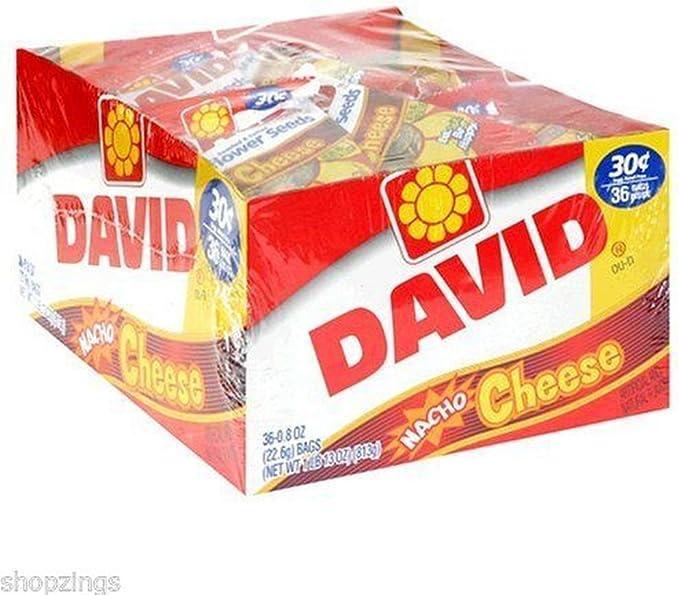 David Sunflower Seed Bags ナチョチーズ 塩漬けローストフレーバー 36パック