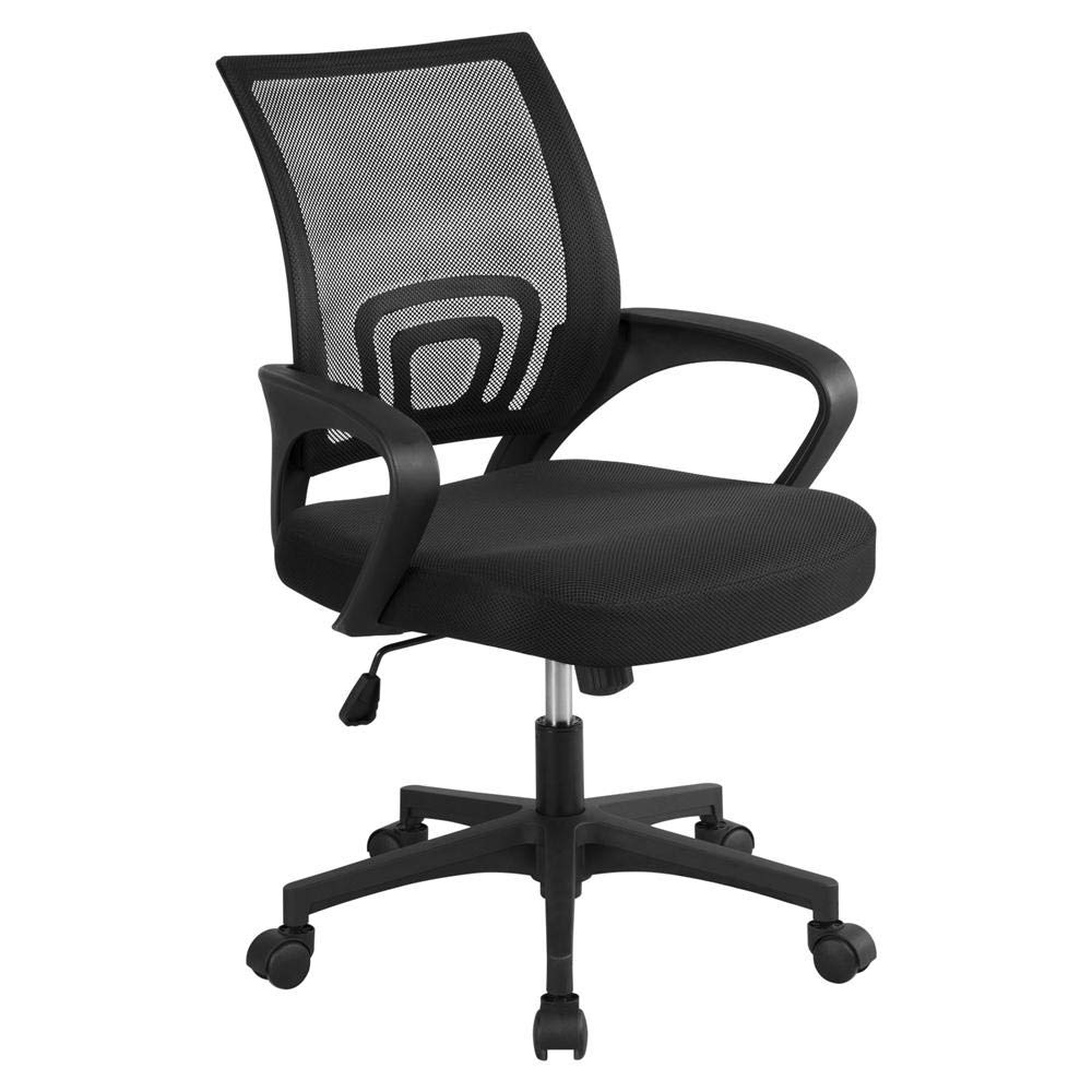 Yaheetech Office Chair Ergonomic Computer Chair Mid Back Mesh Desk Chair Lumbar Support Modern Executive Adjustable Stool Rolling Swivel Chair, Black by Yaheetech (Image #1)