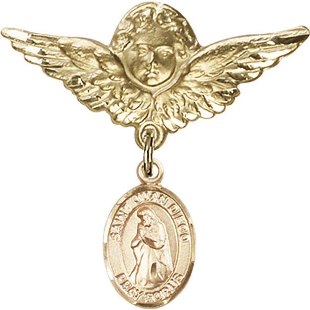 Gold Filled Baby Badge with St. Juan Diego Charm and Angel w/Wings Badge Pin 1 1/8 X 1 1/8 inches by Unknown