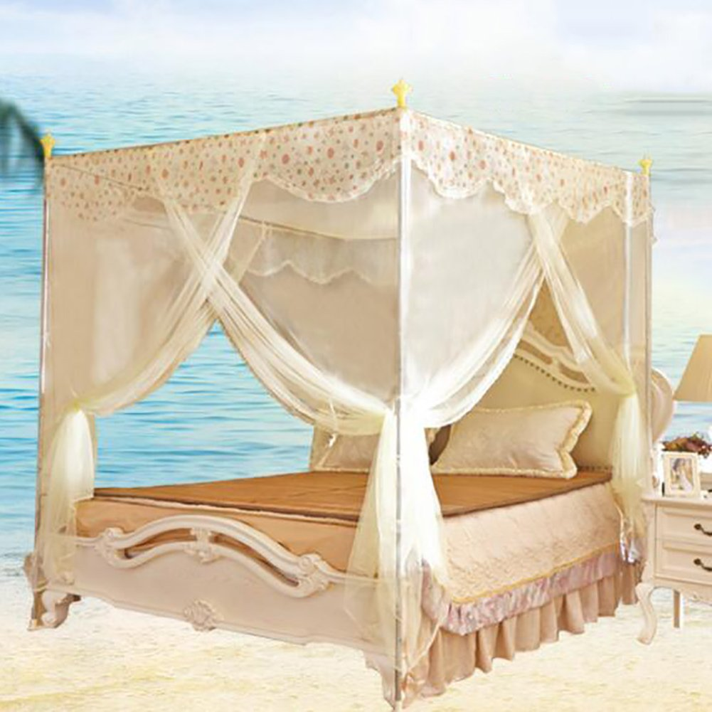 Boho four corner mosquito net bed canopy, Three-door open Bold Stainless steel tube Floor-standing Residential Double mosquito curtain-A Twin2