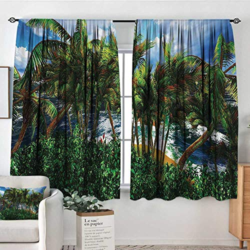 Mozenou Hawaiian Thermal Insulating Blackout Curtain Hawaii Island Palm Trees Forest Greenery Cloudy Summer Sky Sunlight Seascape Patterned Drape for Glass Door 55