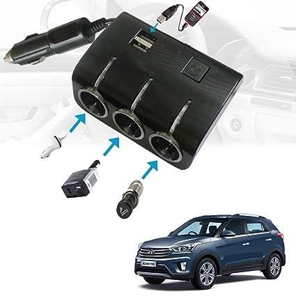 Vheelocityin Car 12V Triple Socket and 2 USB Port Fast Charging (6