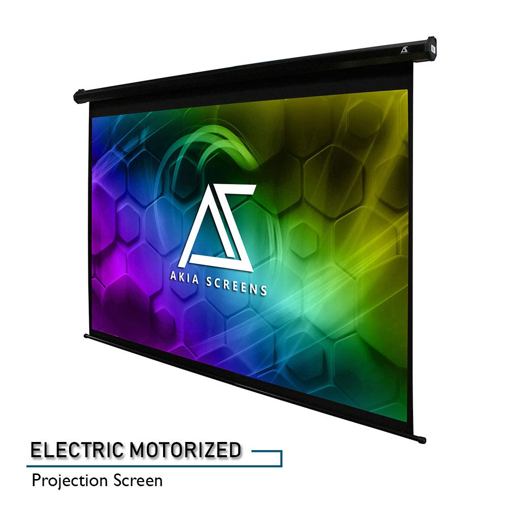 """Akia Screens 104"""" Motorized Electric Projector Projection Screen, 4:3, 8K 4K Ultra HD 3D Ready Wall/Ceiling Mounted, 12V Trigger, Remote, Manufacturer Warranty with Chat Service, AK-MOTORIZE104V"""