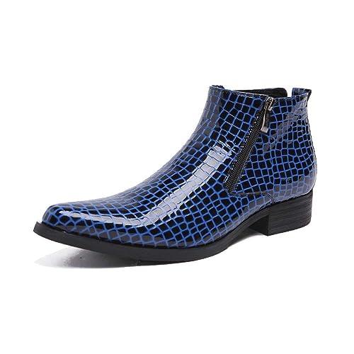 YCGCM Botines para Hombre, Zapatos Altos, Inglaterra, Charol, Comodidad, Marea, Personalidad,Blue-45: Amazon.es: Zapatos y complementos