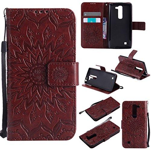 LG Magna / LG Volt 2 / LG G4 Mini Case, Love Sound [Sunflower] [Wrist Strap] [Stand Function] PU Leather Wallet Case Flip Cover Built-in Card Slots for LG Magna / LG Volt 2 / LG G4 Mini (Brown)