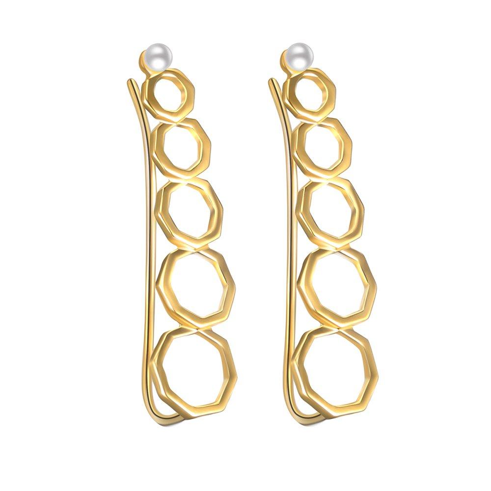 Sterling Silver Minimalist Gold Earrings Honeycubes Ear Climbers Geometrical Ear Crawlers Ear Sweeps