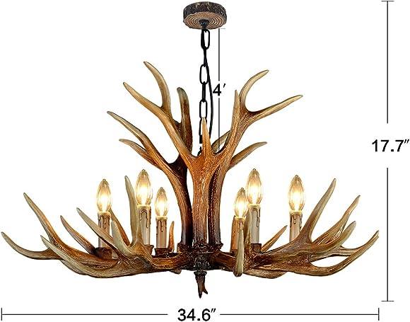 Antler Chandelier Lighting,6 Light Deer Antler Chandelier for Living Room Dining Room Balcony Bedroom Cafe,Brown BN-1030-6