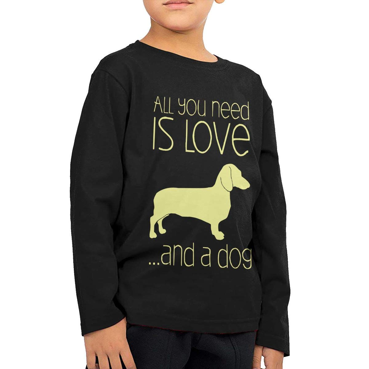 All You Need is Love and A Dachshund Childrens Black Cotton Long Sleeve Round Neck T Shirt for Boy Or Girl
