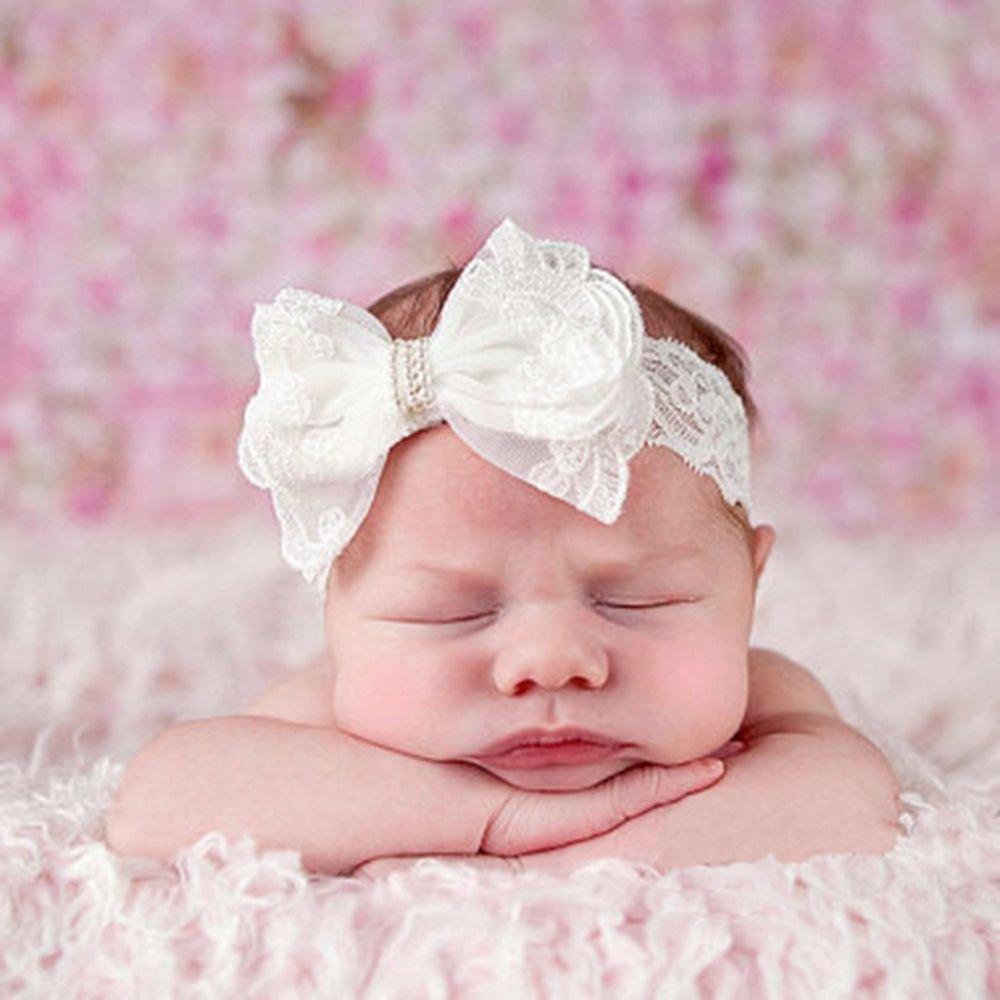 Tyoner Kinder Kleinkind Haarschmuck Schleife Perlen Spitze Haarband Kopfbedeckung Baby Stirnband