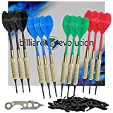 Billiard Evolution Set of Twelve Brass 2ba 16gm Soft Tip Bar Darts, 100 Black Dart Tips, Dart Wrench