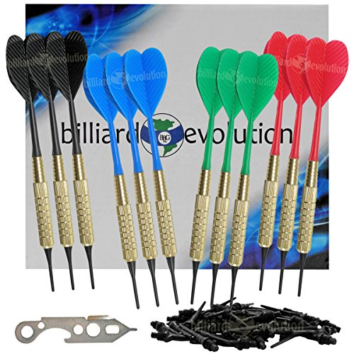 Set of Twelve Brass 2ba 16gm Soft Tip Bar Darts, 100 Black Dart Tips, & Dart Wrench
