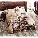 100% Cotton Comforter Set 5 Pcs Paris Eiffel Tower Brown Theme Themed Pink Flowers Full / Queen Size Bedding Linens