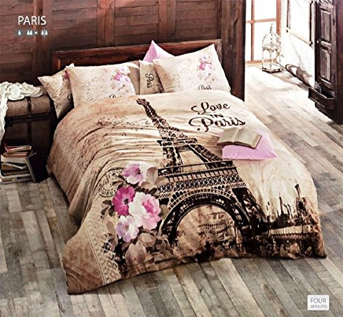 100% Cotton Comforter Set 5 Pcs Paris Eiffel Tower Brown Theme Themed Pink Flowers Full / Queen Size Bedding Linens (Bedding Brown Set Pink And)