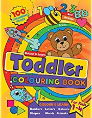 Toddler Colouring Book: For kids ages 1-4, 100 fun pages of letters, numbers, animals and shapes to colour and learn