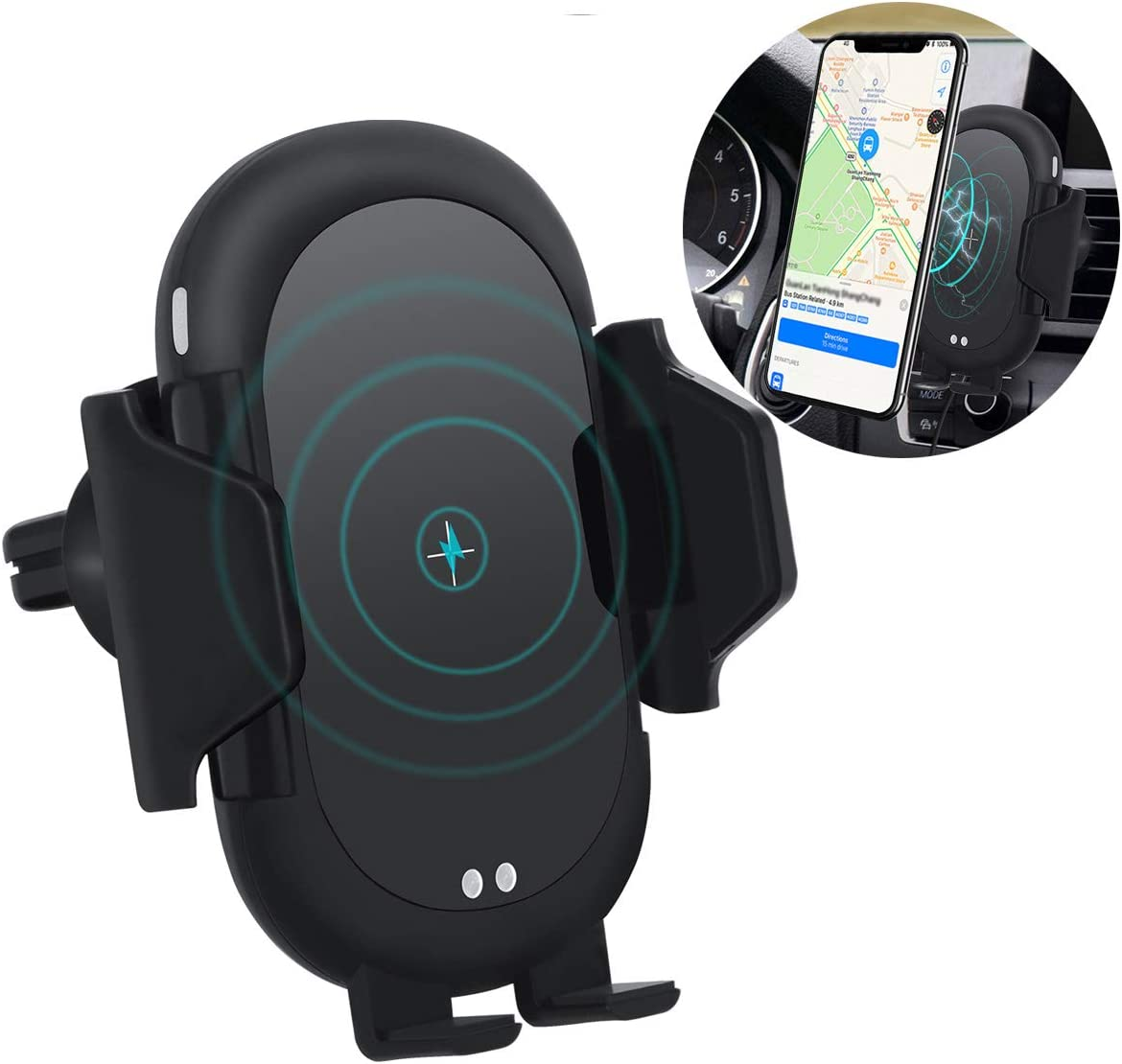 MMOBIEL Wireless Car Charger Infrared Sensor Qi Fast Charging 5W//7.5W//10W Phone Holder Mount incl Air Vent Dashboard Mount 360/° Rotation Silver