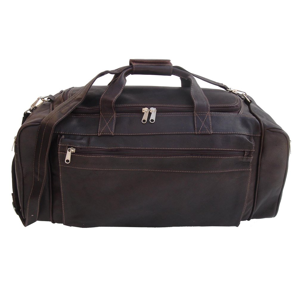 Piel Leather Large Duffel Bag, Chocolate, One Size
