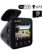 Caméra Voiture AKASO Embarquée Conduite Enregistreur WiFi, Dash Cam Avant, Surveillance 1296P Full HD, GPS, G-Capteur, Grand Angle 170°, Parking Moniteur, WDR, Vision Nocturne, Carte SD Incluse, App