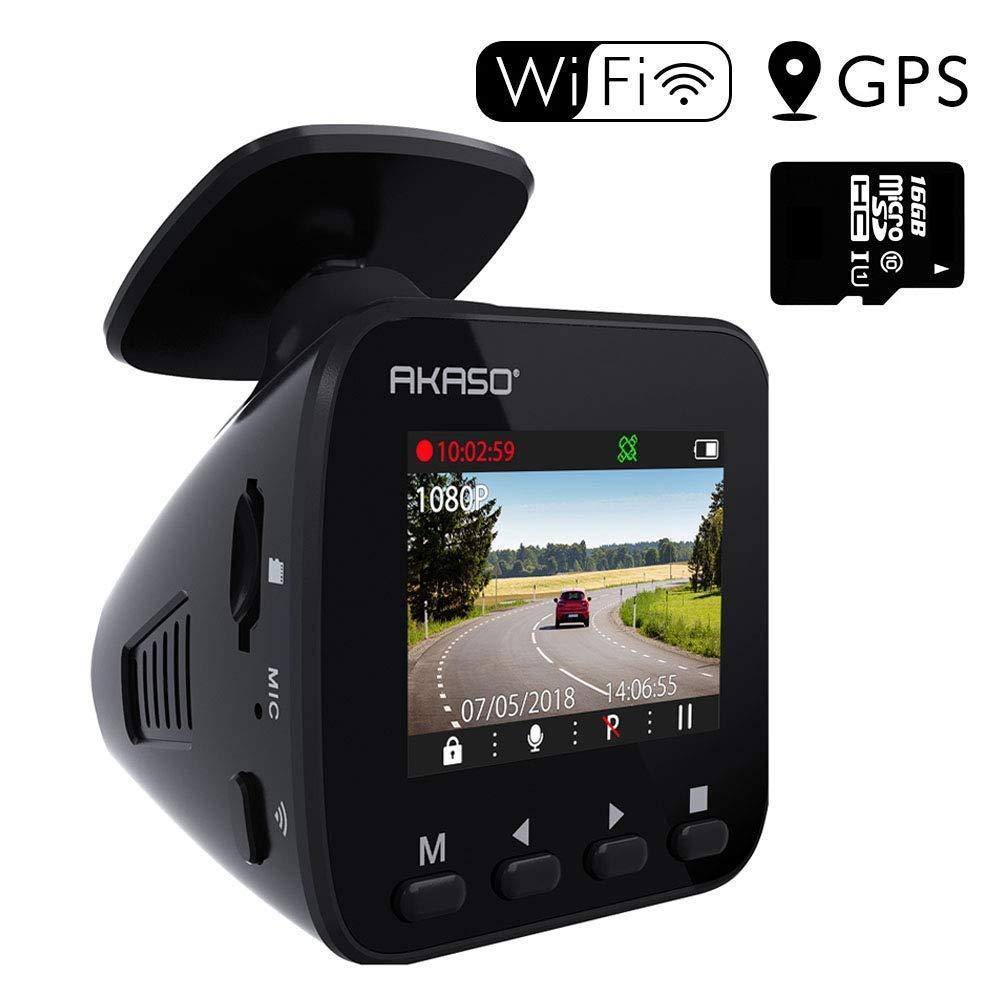 AKASO Dashcam Autokamera Full HD 1296P Auto Kamera mit GPS, WiFi, 170° Weitwinkelobjektiv, Parkmonitor, Loop Aufnahme, Nachtsicht und G-Sensor, mit eine 16GB SD Karte