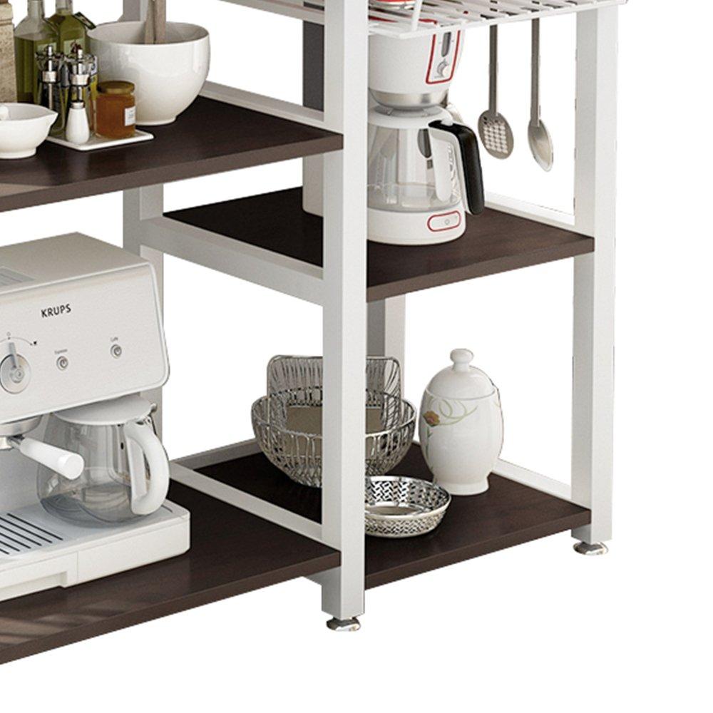 SogesHome 4-Tier Kitchen Bakers Rack Utility Microwave Oven Stand Storage Cart Workstation Shelf,Black W4-BK-SH PRC SH-172-MO-N