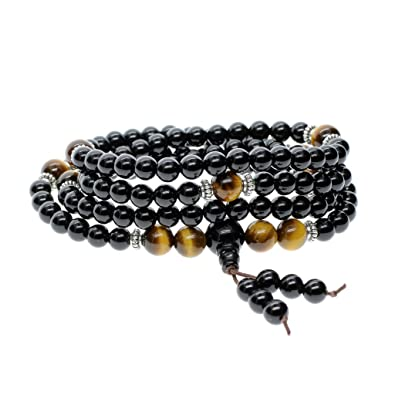COAI® Natural Stones Matte Onyx Tiger Eye 108 Mala Beads Wrap Bracelet Necklace 6mm lR8uj1n
