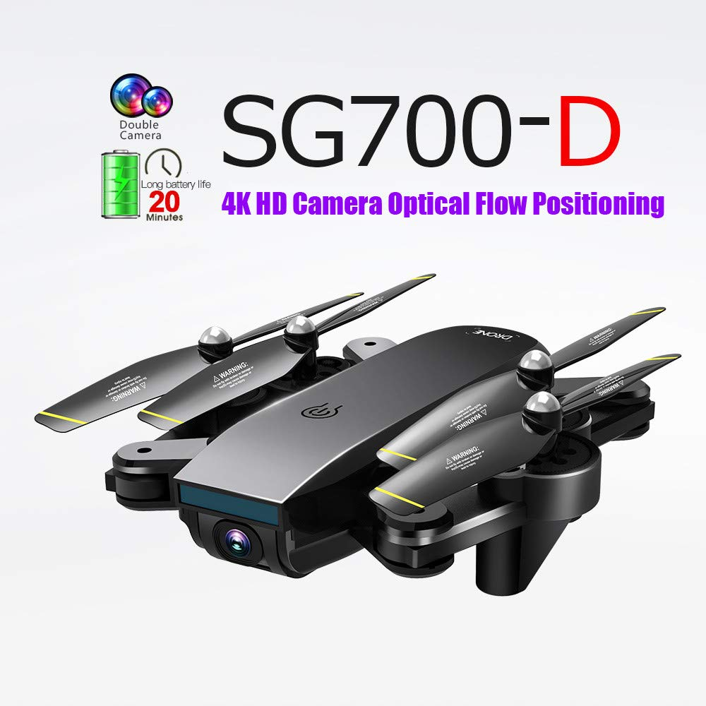 LikeroNew SG700-D 2.4Ghz 4CH Wide-Angle WiFi 4K HD Dual Camera Optical Flow RC Quadcopter Drone Hover,Beginners -Controlled Through The Mobile Phone App -One-Key Start&one-Key Landing (Black) by Likero (Image #1)